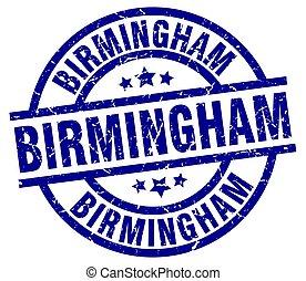 Birmingham blue round grunge stamp