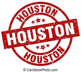 Houston red round grunge stamp