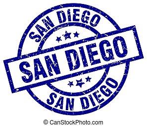 San Diego blue round grunge stamp