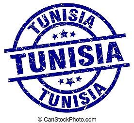 Tunisia blue round grunge stamp
