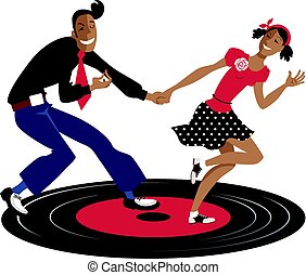Old time rhythm - Couple dancing swing, lindy hop or rock...