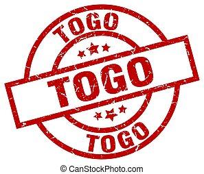 Togo red round grunge stamp