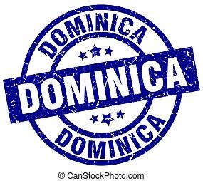 Dominica blue round grunge stamp
