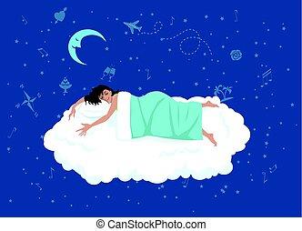 Good night sleep - happy woman sleeping on a cloud, night...