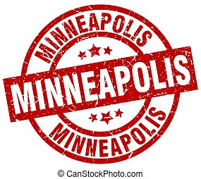 Minneapolis red round grunge stamp
