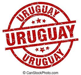 Uruguay red round grunge stamp