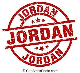 Jordan red round grunge stamp