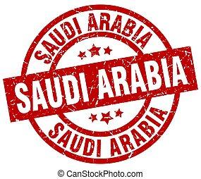Saudi Arabia red round grunge stamp