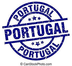 Portugal blue round grunge stamp