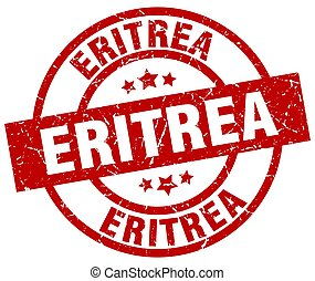 Eritrea red round grunge stamp