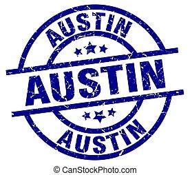 Austin blue round grunge stamp