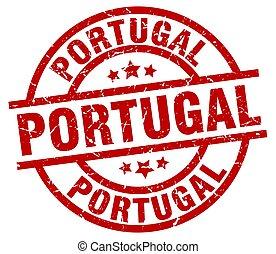 Portugal red round grunge stamp