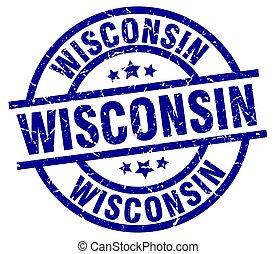 Wisconsin blue round grunge stamp