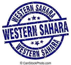 Western Sahara blue round grunge stamp