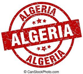 Algeria red round grunge stamp