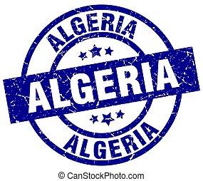 Algeria blue round grunge stamp