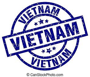 Vietnam blue round grunge stamp