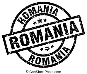 Romania black round grunge stamp