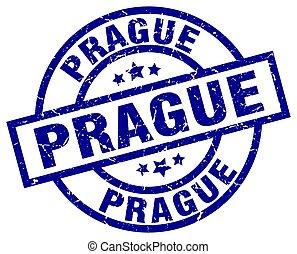 Prague blue round grunge stamp