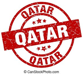 Qatar red round grunge stamp