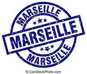 Marseille blue round grunge stamp