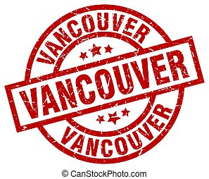 Vancouver red round grunge stamp