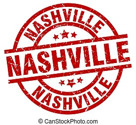 Nashville red round grunge stamp