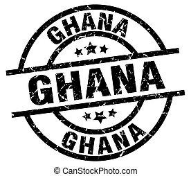 Ghana black round grunge stamp