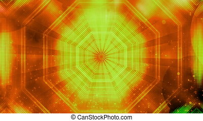 Orange yellow cosmic retro looping abstract CG seamless background