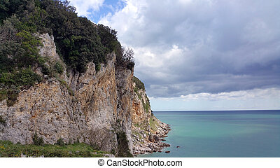 view on Cantabria sea and edge cliff in the North Spain