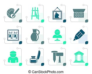 Stylized Fine art objects icons