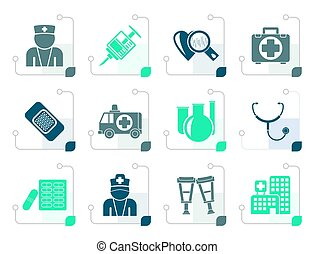 Stylized Medicine and healthcare icons - vector icon set