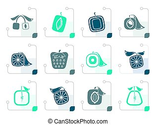 Stylized Abstract square fruit icons