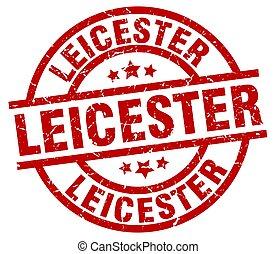 Leicester red round grunge stamp