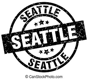 Seattle black round grunge stamp