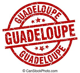 Guadeloupe red round grunge stamp
