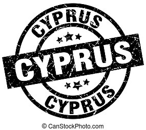 Cyprus black round grunge stamp