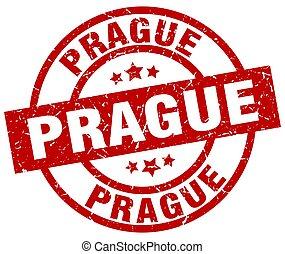 Prague red round grunge stamp