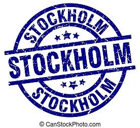 Stockholm blue round grunge stamp