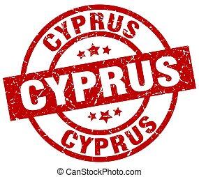Cyprus red round grunge stamp