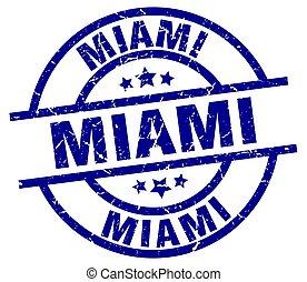 Miami blue round grunge stamp