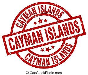 Cayman Islands red round grunge stamp