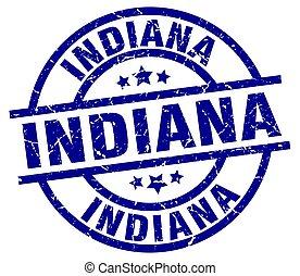 Indiana blue round grunge stamp