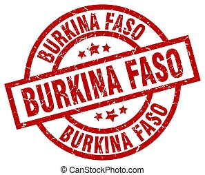 Burkina Faso red round grunge stamp