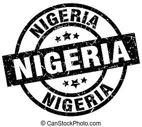 Nigeria black round grunge stamp
