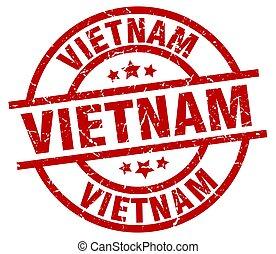 Vietnam red round grunge stamp