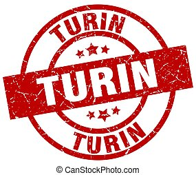 Turin red round grunge stamp