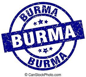 Burma blue round grunge stamp