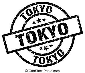 Tokyo black round grunge stamp