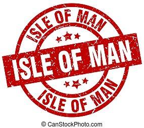 Isle Of Man red round grunge stamp